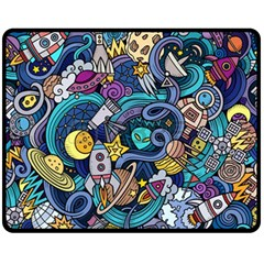 Cartoon Hand Drawn Doodles On The Subject Of Space Style Theme Seamless Pattern Vector Background Fleece Blanket (medium)
