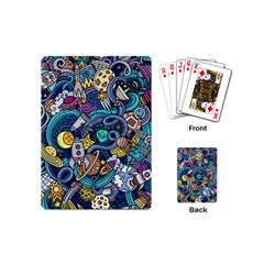 Cartoon Hand Drawn Doodles On The Subject Of Space Style Theme Seamless Pattern Vector Background Playing Cards (mini)