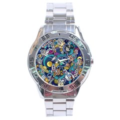 Cartoon Hand Drawn Doodles On The Subject Of Space Style Theme Seamless Pattern Vector Background Stainless Steel Analogue Watch