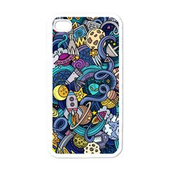 Cartoon Hand Drawn Doodles On The Subject Of Space Style Theme Seamless Pattern Vector Background Apple iPhone 4 Case (White)