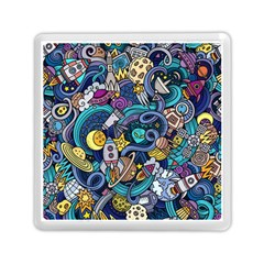 Cartoon Hand Drawn Doodles On The Subject Of Space Style Theme Seamless Pattern Vector Background Memory Card Reader (Square)