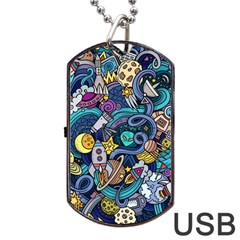 Cartoon Hand Drawn Doodles On The Subject Of Space Style Theme Seamless Pattern Vector Background Dog Tag Usb Flash (one Side)