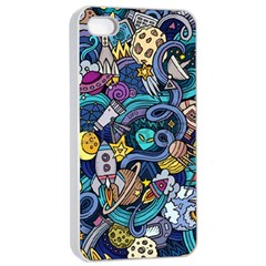 Cartoon Hand Drawn Doodles On The Subject Of Space Style Theme Seamless Pattern Vector Background Apple Iphone 4/4s Seamless Case (white)