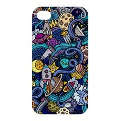 Cartoon Hand Drawn Doodles On The Subject Of Space Style Theme Seamless Pattern Vector Background Apple Iphone 4/4s Hardshell Case