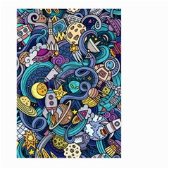 Cartoon Hand Drawn Doodles On The Subject Of Space Style Theme Seamless Pattern Vector Background Large Garden Flag (two Sides)