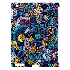Cartoon Hand Drawn Doodles On The Subject Of Space Style Theme Seamless Pattern Vector Background Apple Ipad 3/4 Hardshell Case (compatible With Smart Cover)