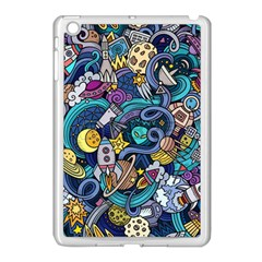 Cartoon Hand Drawn Doodles On The Subject Of Space Style Theme Seamless Pattern Vector Background Apple iPad Mini Case (White)
