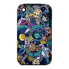 Cartoon Hand Drawn Doodles On The Subject Of Space Style Theme Seamless Pattern Vector Background iPhone 3S/3GS