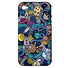 Cartoon Hand Drawn Doodles On The Subject Of Space Style Theme Seamless Pattern Vector Background Apple iPhone 4/4S Hardshell Case (PC+Silicone)