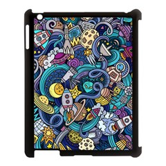 Cartoon Hand Drawn Doodles On The Subject Of Space Style Theme Seamless Pattern Vector Background Apple Ipad 3/4 Case (black)