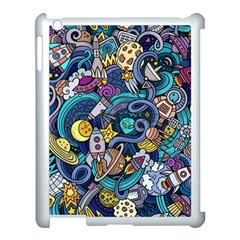 Cartoon Hand Drawn Doodles On The Subject Of Space Style Theme Seamless Pattern Vector Background Apple Ipad 3/4 Case (white)