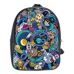 Cartoon Hand Drawn Doodles On The Subject Of Space Style Theme Seamless Pattern Vector Background School Bags (XL)
