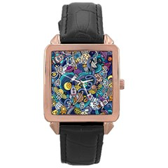 Cartoon Hand Drawn Doodles On The Subject Of Space Style Theme Seamless Pattern Vector Background Rose Gold Leather Watch