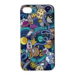 Cartoon Hand Drawn Doodles On The Subject Of Space Style Theme Seamless Pattern Vector Background Apple iPhone 4/4S Hardshell Case with Stand