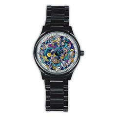Cartoon Hand Drawn Doodles On The Subject Of Space Style Theme Seamless Pattern Vector Background Stainless Steel Round Watch