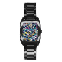 Cartoon Hand Drawn Doodles On The Subject Of Space Style Theme Seamless Pattern Vector Background Stainless Steel Barrel Watch