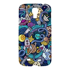 Cartoon Hand Drawn Doodles On The Subject Of Space Style Theme Seamless Pattern Vector Background Samsung Galaxy S4 I9500/i9505 Hardshell Case