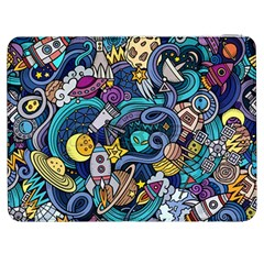 Cartoon Hand Drawn Doodles On The Subject Of Space Style Theme Seamless Pattern Vector Background Samsung Galaxy Tab 7  P1000 Flip Case
