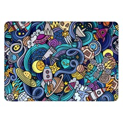 Cartoon Hand Drawn Doodles On The Subject Of Space Style Theme Seamless Pattern Vector Background Samsung Galaxy Tab 8.9  P7300 Flip Case