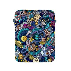 Cartoon Hand Drawn Doodles On The Subject Of Space Style Theme Seamless Pattern Vector Background Apple iPad 2/3/4 Protective Soft Cases