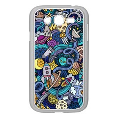 Cartoon Hand Drawn Doodles On The Subject Of Space Style Theme Seamless Pattern Vector Background Samsung Galaxy Grand Duos I9082 Case (white)