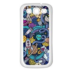 Cartoon Hand Drawn Doodles On The Subject Of Space Style Theme Seamless Pattern Vector Background Samsung Galaxy S3 Back Case (white)