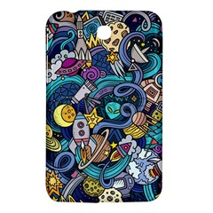 Cartoon Hand Drawn Doodles On The Subject Of Space Style Theme Seamless Pattern Vector Background Samsung Galaxy Tab 3 (7 ) P3200 Hardshell Case