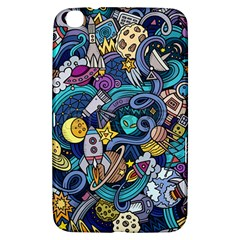 Cartoon Hand Drawn Doodles On The Subject Of Space Style Theme Seamless Pattern Vector Background Samsung Galaxy Tab 3 (8 ) T3100 Hardshell Case
