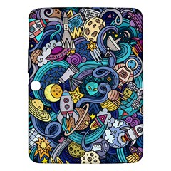 Cartoon Hand Drawn Doodles On The Subject Of Space Style Theme Seamless Pattern Vector Background Samsung Galaxy Tab 3 (10.1 ) P5200 Hardshell Case