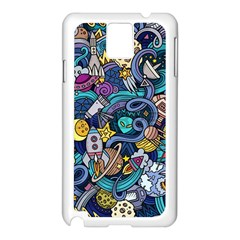 Cartoon Hand Drawn Doodles On The Subject Of Space Style Theme Seamless Pattern Vector Background Samsung Galaxy Note 3 N9005 Case (White)