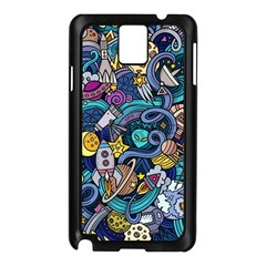 Cartoon Hand Drawn Doodles On The Subject Of Space Style Theme Seamless Pattern Vector Background Samsung Galaxy Note 3 N9005 Case (Black)
