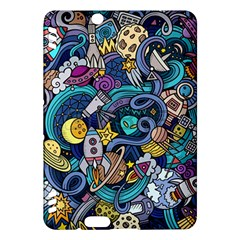 Cartoon Hand Drawn Doodles On The Subject Of Space Style Theme Seamless Pattern Vector Background Kindle Fire Hdx Hardshell Case