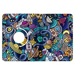 Cartoon Hand Drawn Doodles On The Subject Of Space Style Theme Seamless Pattern Vector Background Kindle Fire Hdx Flip 360 Case