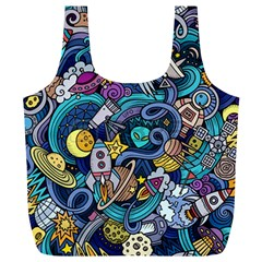 Cartoon Hand Drawn Doodles On The Subject Of Space Style Theme Seamless Pattern Vector Background Full Print Recycle Bags (l)