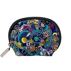Cartoon Hand Drawn Doodles On The Subject Of Space Style Theme Seamless Pattern Vector Background Accessory Pouches (small)