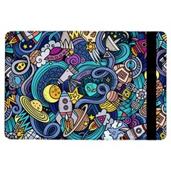 Cartoon Hand Drawn Doodles On The Subject Of Space Style Theme Seamless Pattern Vector Background iPad Air Flip