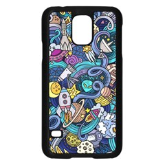 Cartoon Hand Drawn Doodles On The Subject Of Space Style Theme Seamless Pattern Vector Background Samsung Galaxy S5 Case (black)