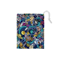 Cartoon Hand Drawn Doodles On The Subject Of Space Style Theme Seamless Pattern Vector Background Drawstring Pouches (small)