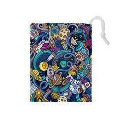 Cartoon Hand Drawn Doodles On The Subject Of Space Style Theme Seamless Pattern Vector Background Drawstring Pouches (medium)