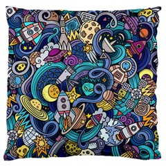 Cartoon Hand Drawn Doodles On The Subject Of Space Style Theme Seamless Pattern Vector Background Large Flano Cushion Case (one Side)