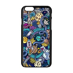 Cartoon Hand Drawn Doodles On The Subject Of Space Style Theme Seamless Pattern Vector Background Apple Iphone 6/6s Black Enamel Case