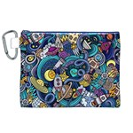 Cartoon Hand Drawn Doodles On The Subject Of Space Style Theme Seamless Pattern Vector Background Canvas Cosmetic Bag (XL) Front