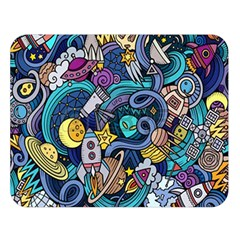 Cartoon Hand Drawn Doodles On The Subject Of Space Style Theme Seamless Pattern Vector Background Double Sided Flano Blanket (Large)