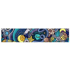 Cartoon Hand Drawn Doodles On The Subject Of Space Style Theme Seamless Pattern Vector Background Flano Scarf (Small)
