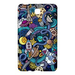 Cartoon Hand Drawn Doodles On The Subject Of Space Style Theme Seamless Pattern Vector Background Samsung Galaxy Tab 4 (7 ) Hardshell Case