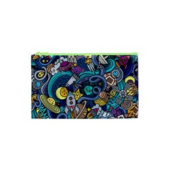 Cartoon Hand Drawn Doodles On The Subject Of Space Style Theme Seamless Pattern Vector Background Cosmetic Bag (xs)