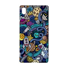 Cartoon Hand Drawn Doodles On The Subject Of Space Style Theme Seamless Pattern Vector Background Sony Xperia Z3+
