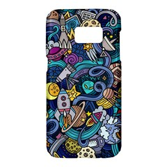 Cartoon Hand Drawn Doodles On The Subject Of Space Style Theme Seamless Pattern Vector Background Samsung Galaxy S7 Hardshell Case