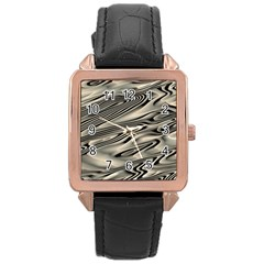 Alien Planet Surface Rose Gold Leather Watch
