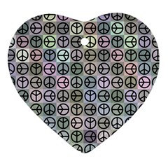 Peace Pattern Heart Ornament (Two Sides)